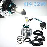 AUDEW 32W H4 Moto Phare/Code 3 COB LED (Hi/Lo) Beam Étanche IP67 Antibrouillard 3000LM Ampoule Headlight Kit Lampe DC 9-16V(Blanc 6500K)