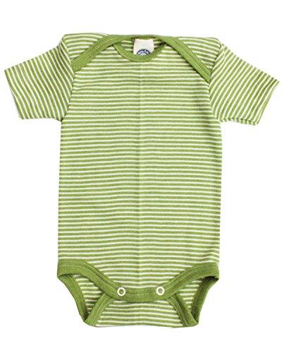 Cosilana, Kurzarm Baby Body 70% Merino-Schurwolle und 30% Seide (50/56, Grün-geringelt) - Baby-merino-wolle