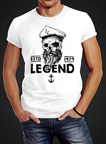Herren T-Shirt Skull Captain Legend Totenkopf Bart Kapitän Slim Fit Neverless® Captain weiß