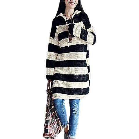 WDYI Nueva hechizo color de la caída del viento de la universidad con capucha a rayas ocasionales suéter de punto y falda larga , white , one size