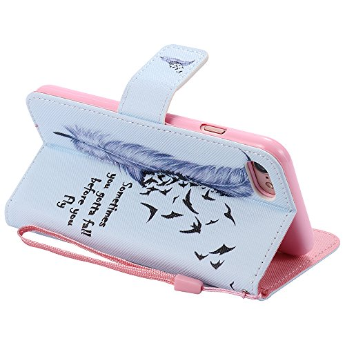 C-Super Mall-UK Apple iPhone 7 Plus hülle, Qualität PU-Leder Brieftasche Stehen Flip hülle für Apple iPhone 7 Plus feather