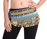 BellyLady - Sciarpa per danza del ventre, in velluto, colore: blu lago
