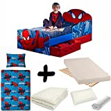 Bebegavroche Komplettset für Bett Spiderman mit Leuchtenkopf = Bett + Matratze & Bettwäsche + Kissen