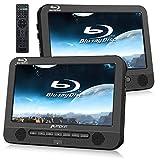 Pumpkin Lettore DVD blu-ray portatile per auto poggiatesta, doppio schermo da 10.1 pollici, 4 ore di durata, supporto HDMI/USB/SD/MMC/cavo AUX, 18 mesi di garanzia