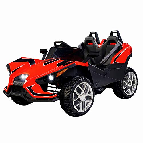 UEnjoy 2 Sitze Kinderauto Auto Elektro für Kinder mit Fernbedienung, 4 Geschwindigkeiten,LED Leuchten,Musik,Rot