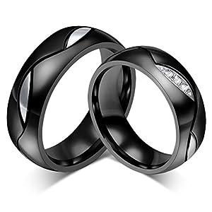 Beglie 2 Stück Edelstahl Verlobungsring Paar Herz Eheringe Diamant Verlobungsring Ohne Fassung für Frauen Männer