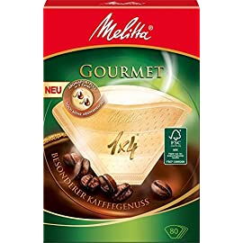 Melitta Gourmet Coffee Filters Size 1×4, 80 Coffee Filters, For Filter Coffee Makers, Brown