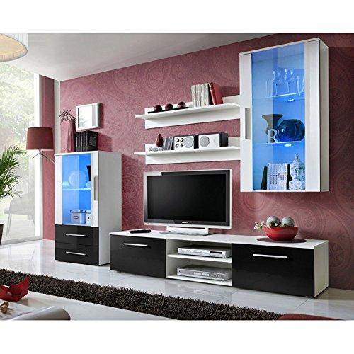 Paris Prix - Ensemble Meuble TV Design galino VIII 250cm Blanc & Tiroirs Noirs