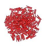 LIOOBO 100 stücke Mini Holznägel Fotopapier Craft Clips Holz Wäscheklammer Rot