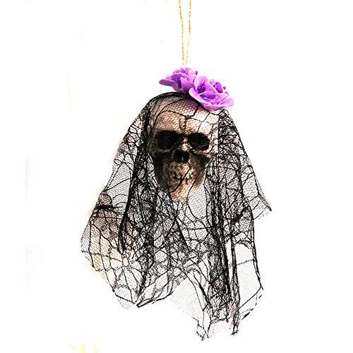 Sungpunet Colgando del cráneo de Halloween del Fantasma Esqueleto Animado con Negro de Encaje y Flores Casa encantada Prop Decoración de Miedo (púrpura)