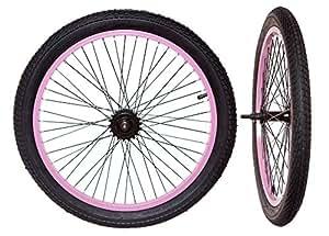 """Vélo BMX roues 20 """"(Paire) 18 dents Noir/rose avec des pneumatiques SET complet"""