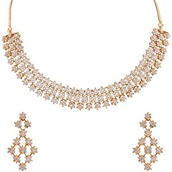 Ratnavali Jewels American Diamond White Necklace Pendant Set with Earrings for Women