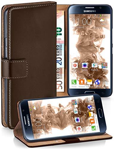 moex® Booklet mit Flip Funktion [360 Grad Voll-Schutz] für Samsung Galaxy S6 | Geldfach und Kartenfach + Stand-Funktion und Magnet-Verschluss, Dunkel-Braun