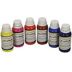 trendmarkt24 Acrylfarbe Set 6 Farben | Je Farbe 150ml Tuben | flüssige Malfarben Gute Qualität hohe Deckkraft Geeignet für: Holz, Glas, Gips, Ton, UVM. Bastelfarbe Hobby & künstlerbedarf 16360