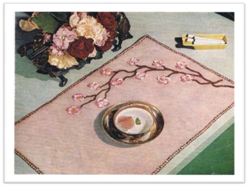 #0676 APPLE BLOSSOM PLACEMAT VINTAGE KNITTING PATTERN (English Edition) Apple Blossom Pattern