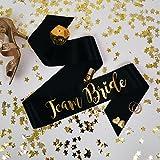 Team Bride Hen Party Schärpe–schwarz und gold Classy Junggesellinnenabschied Schärpe–Team Braut HAN Party Reihe