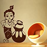 DECOR Kafe Home Decor Bal Krishna Wall Sticker, Wall Sticker For Bedroom, Wall Art, Wall Poster (PVC Vinyl, 30 X 45 CM)