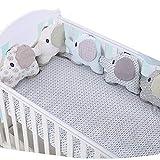 paracolpi lettino, paracolpi per lettino bimbo in cotone creativo, adorabile forma di elefante pois letto paraurti per lettino per bambini piccoli - 6 pezzi