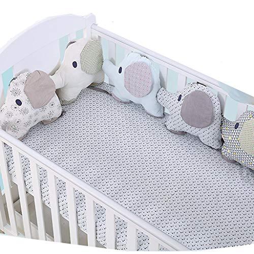 Protector cuna,Creativo Baby Algodón Cot Liner Bumper, Adorable forma de elefante Polka Dot Star Crib...