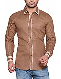 PP Shirts Men Brown Coloured Solid Casual Shirt