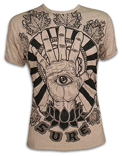 Sure Camiseta Hombre El Tercer Ojo Talla M L XL Hamsa Fatimas Mano Yoga Boho (XL, Khaki)