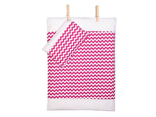 KraftKids Bettwäsche-Set Uniweiss Chevron magenta aus Kopfkissen 80 x 80 cm und Bettdecke 140 x 200 cm, Bettbezug aus Baumwolle, handgearbeitete Bettwäsche gefertigt in der EU - Baby-bettwäsche-sets Chevron