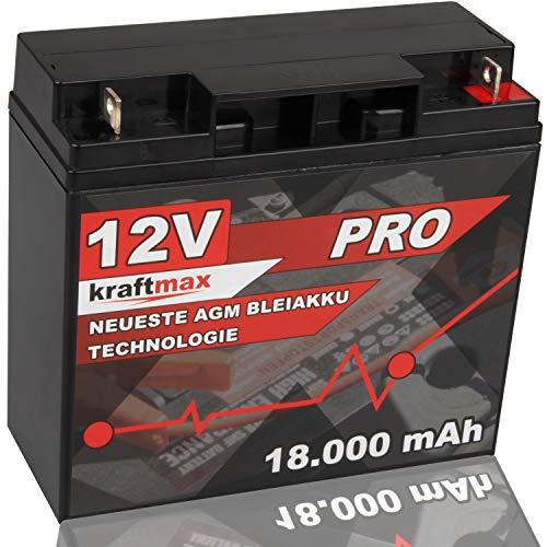 kraftmax Industrial Pro Bleiakku [ 12V / 18Ah ] AGM Hochleistungs- Blei Akku der Neusten Generation