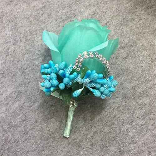 LABAICAI 1 STÜCKE Elfenbein Rot Best Man Corsage für Bräutigam Groomsman Silk Rose Blume Hochzeitsanzug Boutonnieres zubehör pin brosche Dekoration (Color : Tiffany Blue)