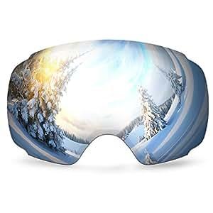 Sci obiettivo staccabile, ODOLAND Lens sci staccabile - lente antinebbia e protezione UV 400 con specchio Coating - confortevole per soleggiato e nuvoloso giorni perfetti per il pattinaggio sci Motoslitte