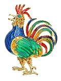 Robinet émail cristal Swarovski bleu royal strass multicolores Bantam Broche motif animal...