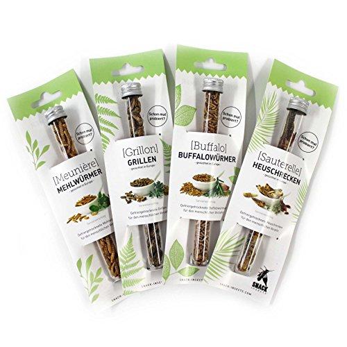 SNACK insects Probier-Set Mehlwürmer, Grillen, Buffalowürmer, Heuschrecken -Essbare Insekten