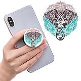 Ausziehbarer Sockel für Handy und Griff für Smartphones und Tablets - Rose Gold Mandala Schwarz Elefant