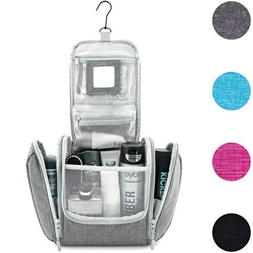 GO!elements® Kulturbeutel Unisex Kulturtasche zum Aufhängen Herren & Damen | Kosmetiktasche groß Männer Frauen für Koffer & Handgepäck | Waschtasche Reise-Tasche (Grau)
