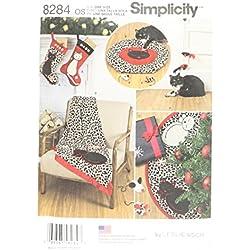 Simplicity Pattern 8284OS calcetín de Navidad árbol de/Falda/Manta/Cama de Gato y Gato Juguete Patrón de Costura, Blanco, Talla única