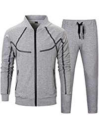 12493b0c TECLEAN Men's Causal Tracksuit Set Full Zip Jogging Suits Sportwear  Athletic Sweat Suits