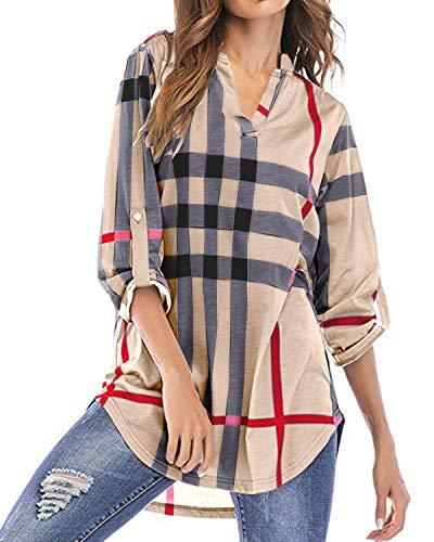 YOINS Bluse Damen Oberteile Elegant Sexy Tops Langarmshirt Gestreift Kariert V-Ausschnitt Hemd Khaki EU44(Kleiner als Reguläre Größe) -