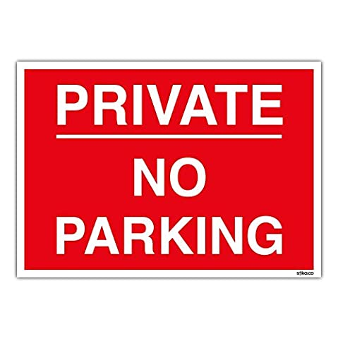 PRIVATE NO PARKING Sign - Car Park Management - PRINTED on 1mm Rigid Plastic Sign (A4 297 x 210mm)