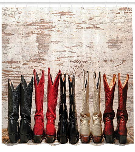 gwegvhvg Western Decor Duschvorhang Set American Legend Cowgirl Lederstiefel Rustikal Wild West Theme Kultur Folkart Print Badzubehör Long Beige Rot