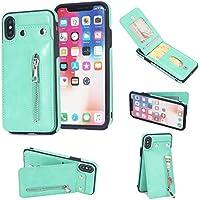 Shinyzone iPhone X Leder Brieftasche Zurück Hülle mit Kredit Kartenhalter,iPhone X Taste Schnalle Reißverschluss... preisvergleich bei billige-tabletten.eu