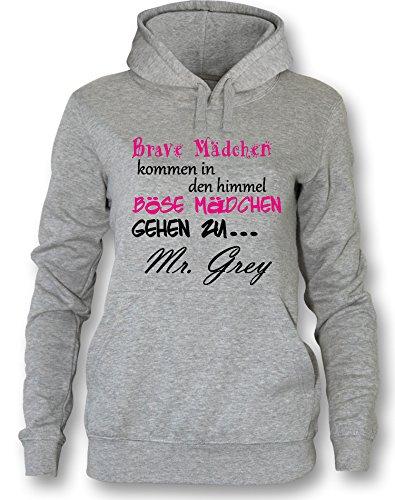 Brave Mädchen kommen in den Himmel Böse gehen zu Mr Grey - Damen Hoodie Grau / Bunt