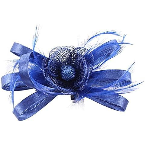 V-SOL Diadema Tocado Adornos para Pelo de Malla Floral Pluma Sombrerito Para Cosplay Halloween Modelo 6SFJ185E