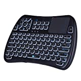 Mini teclado inalámbrico Bluetooth con Touchpad, teclado retroiluminado RGB y control remoto universal de TV para Android TV Box, Nvidia Shield TV, Smart TV, Raspberry Pi, Apple TV KP-810-61BT Teclado
