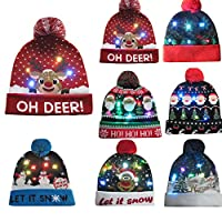 Newest Novelty Hat, Toamen Colorful LED Light-up Merry Christmas Knit Hat Beanie Hairball Warm Cap Gifts, LED Light Detachable