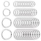 SCSpecial Runde flache Schlüsselanhänger Ringe Set von 40 Metall Split Ring für House Car Key Organisation - Silber