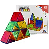 Flying Start Magna Tiles Magnetic Building Blocks Learning and Educational Construction Toys (32 Pieces)