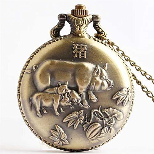 hr, Retro 12 Tierkreis Taschenuhr Großhandel Qing Gu Flip Taschenuhr Herren Collection Geschenk Quarz Taschenuhr (Pattern : Pig) ()