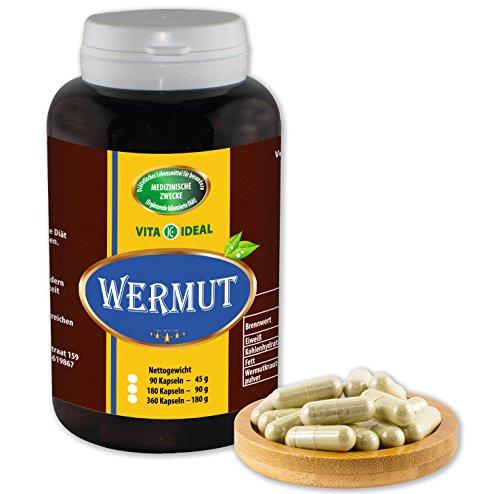 VITA IDEAL ® Wermut (Artemisia absinthium) 180 Kapseln je 500mg, aus rein natürlichen Kräutern, ohne Zusatzstoffe