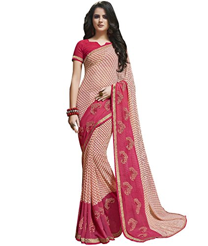 Indian Ethnic Faux Georgette Light Pink Printed Saree (Skirt Abstract Print)