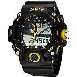 OHSEN Men's Women's Sport Wristwatch Outdoors Waterproof Watch Analog Digital Display Backlight with Alarm Stopwatch - Yellow
