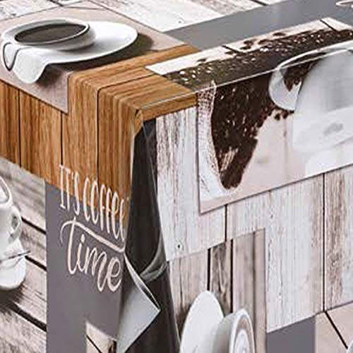 Mambo-Design Wachstuch Coffee Grau · Eckig 90x200 cm ·Länge & Breite wählbar· abwaschbare Tischdecke 0219
